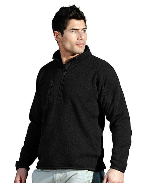 Tri-Mountain 935 Men 100% Polyester 1/4 Zip Sweater Knit Ls Fleece Shirt Black at bigntallapparel