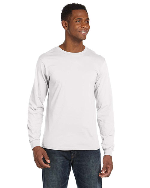 Anvil 949 Men 4.5  Oz. Ringspun Cotton Fashion Fit Long-Sleeve T-Shirt White at bigntallapparel