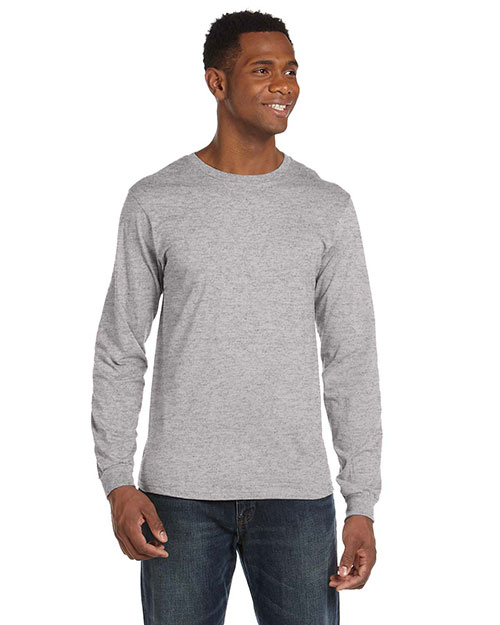 Anvil 949 Men 4.5  Oz. Ringspun Cotton Fashion Fit Long-Sleeve T-Shirt Heather Grey at bigntallapparel