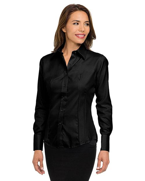 Tri-Mountain 972 Women 100% Cotton Non-Iron Twill Dress Shirt Black at bigntallapparel