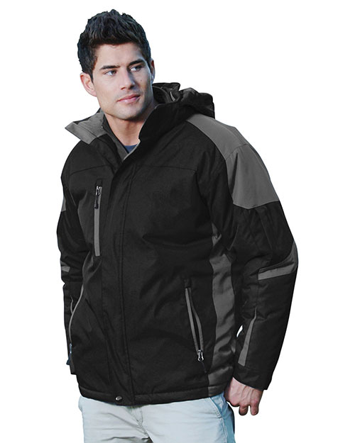 Tri-Mountain 9800 Men 100% Nylon Water Resistant Full Lined & Quilted W/ Removable Hood Woven Ja Black/Charcoal/Charcoal at bigntallapparel