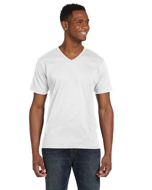 Anvil 982 Men 4.5 Oz. Soft Spun Fashion Fit V-Neck T-Shirt White at bigntallapparel