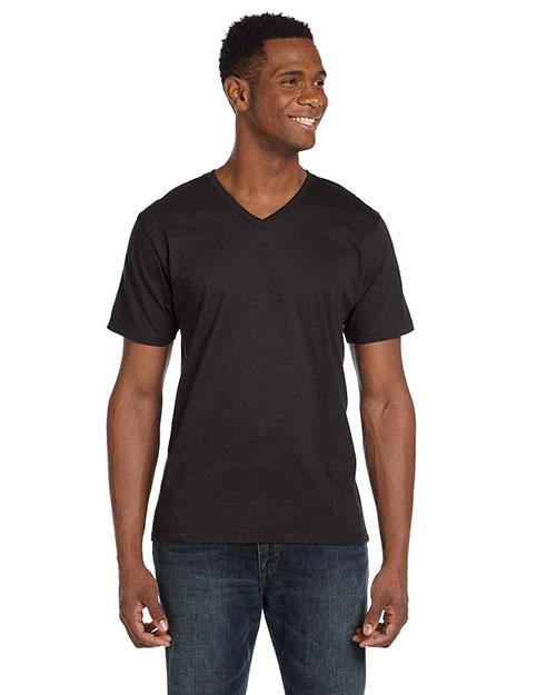 Anvil 982 Men 4.5 Oz. Soft Spun Fashion Fit V-Neck T-Shirt Smoke at bigntallapparel