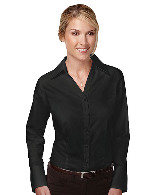 Tri-Mountain 983 Women 100% Cotton Wrinkle Free Piece Dyed Mini Herringbone Woven Shirt Black at bigntallapparel