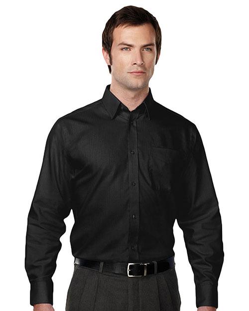 Tri-Mountain 985 Men 100% Cotton Wrinkle Free Piece Dyed Mini Herringbone Woven Shirt Black at bigntallapparel