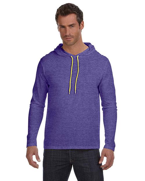 Anvil 987AN Men Ringspun Long-Sleeve Hooded T-Shirt Hth Purp/Neo Yel at bigntallapparel