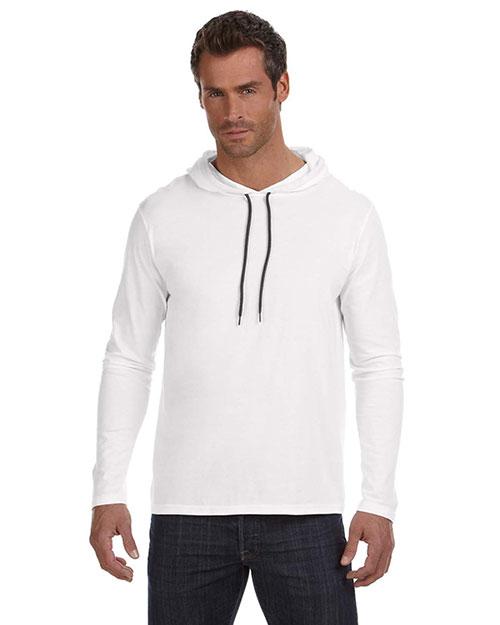 Anvil 987AN Men Ringspun Long-Sleeve Hooded T-Shirt White/Dark Grey at bigntallapparel