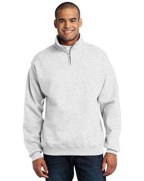 Jerzees 995M Men  1/4-Zip Cadet Collar Sweatshirt Ash at bigntallapparel