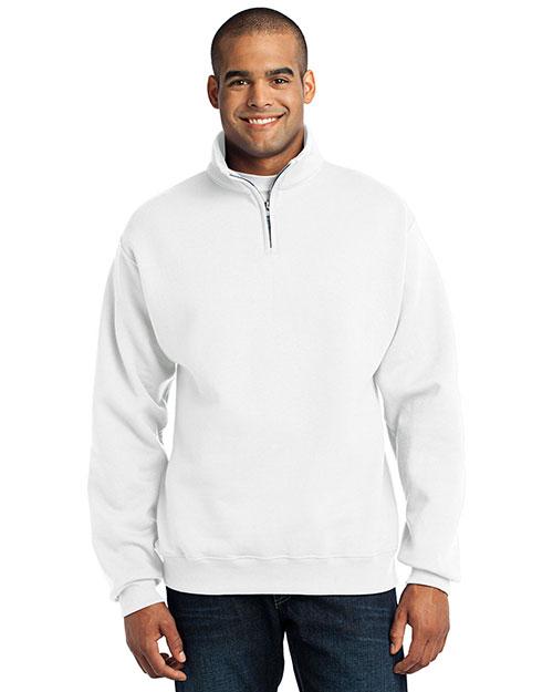 Jerzees 995M Men  1/4-Zip Cadet Collar Sweatshirt White at bigntallapparel