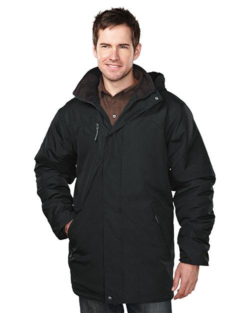 Tri-Mountain 9980 Men 100% Polyester  Long Sleeve Jacket  With Water Resistent Black/Black at bigntallapparel