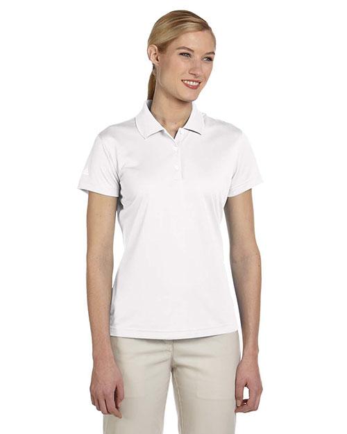 Adidas A131 Women Climalite Pique Short-Sleeve Polo White at bigntallapparel