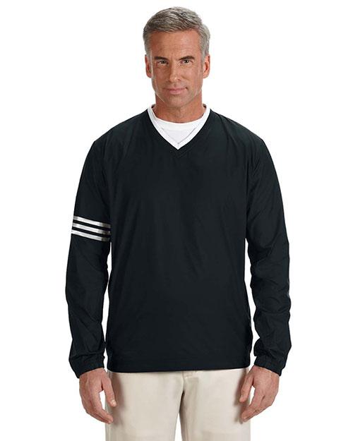 Adidas A147 Men Climalite Colorblock V-Neck Wind Shirt Black/Black at bigntallapparel