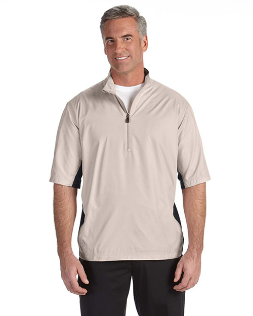 Adidas A167 Men Climalite Colorblock Half-Zip Wind Shirt Ecru/Black at bigntallapparel