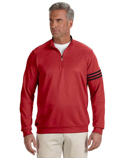 Adidas A190 Men Climalite 3-Stripes Pullover Unvrsty Red/Blck at bigntallapparel