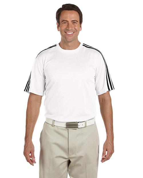 Adidas A72 Men Climalite 3-Stripes T-Shirt White/Black at bigntallapparel