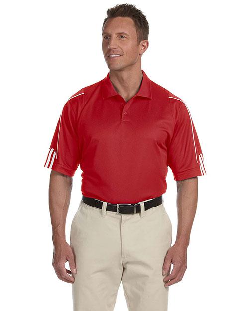 Adidas A76 Men Climalite 3-Stripes Cuff Polo University Red/White at bigntallapparel