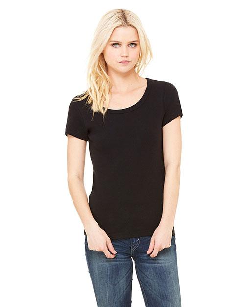Bella B1003 Women Baby Rib Short-Sleeve Scoop Neck T-Shirt Black at bigntallapparel