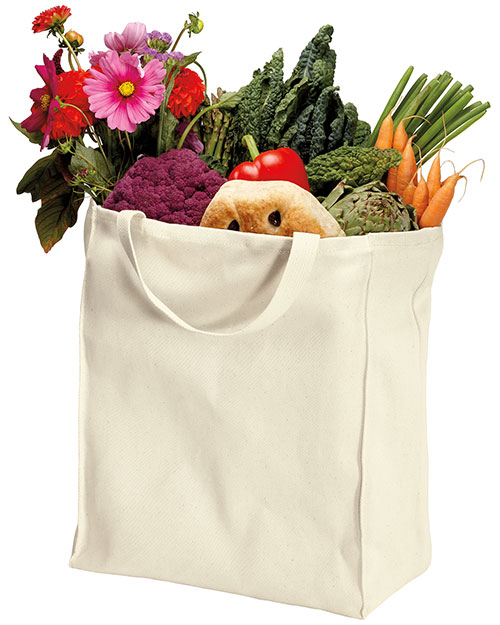 Port Authority B100ORG  100% Organic Cotton Grocery Tote Natural at bigntallapparel