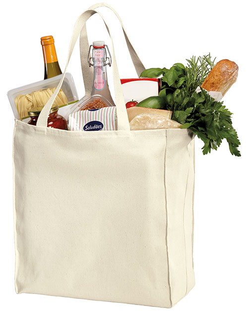 Port Authority B110  Over The Shoulder Grocery Tote Natural at bigntallapparel