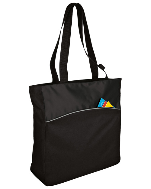 Port & Company B1510  New   Twotone Colorblock Tote Blk/Black at bigntallapparel