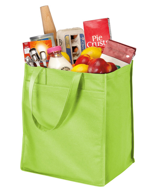 Port & Company B160  Extra-Wide Polypropylene Grocery Tote Lime at bigntallapparel