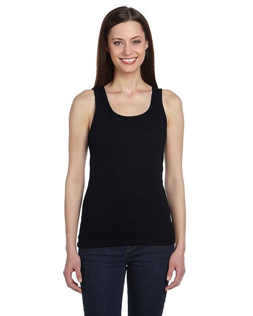 Bella B4020 Women Organic 2x1 Rib Tank Black at bigntallapparel
