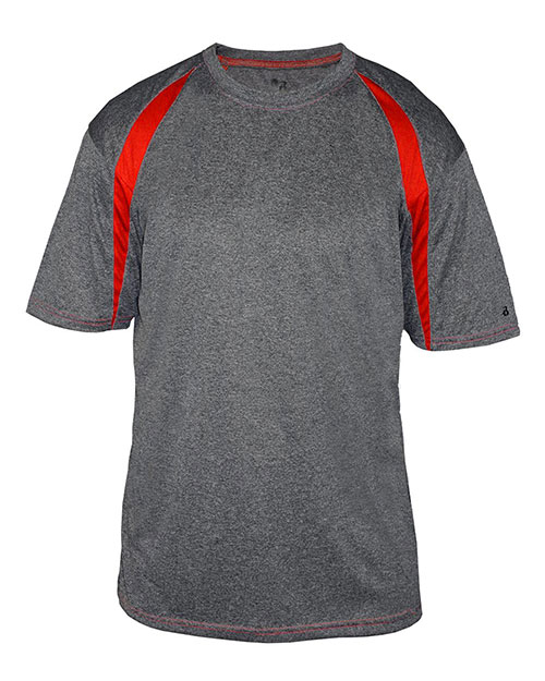 Badger 4340 Men Fusion Short Sleeve Athletic Tee Carbon/ Red at bigntallapparel