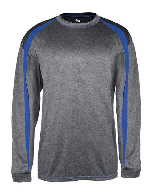 Badger B4350 Men Fusion Long Sleeve Athletic Tee Carbon/ Royal at bigntallapparel