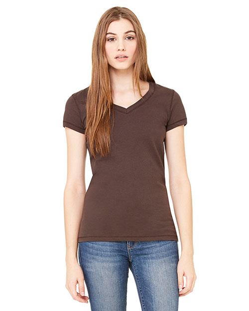 Bella B6005 Women Jersey Short-Sleeve V-Neck T-Shirt Chocolate at bigntallapparel