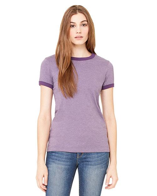 Bella B6050 Women Jersey Short-Sleeve Ringer T-Shirt Hthr Purple/Purple at bigntallapparel
