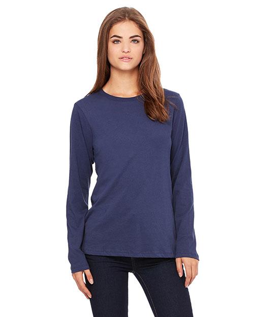Bella B6450 Women Missy Jersey Long-Sleeve T-Shirt Navy at bigntallapparel