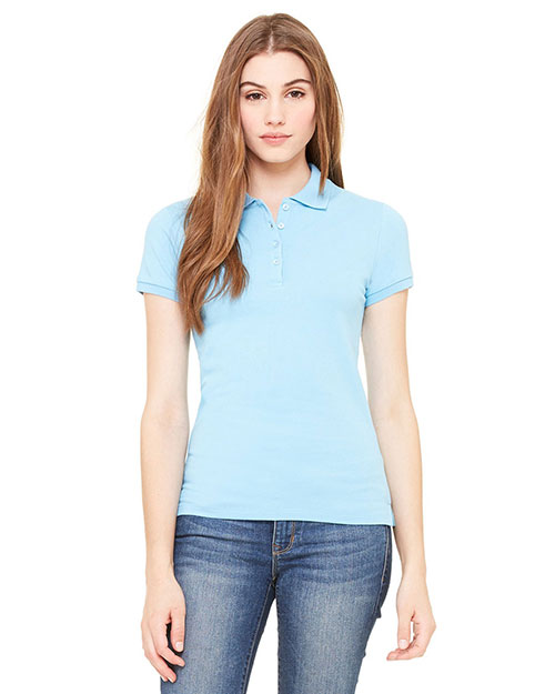 Bella B750 Women Cotton Spandex Mini Pique Short-Sleeve Polo Ocean Blue at bigntallapparel