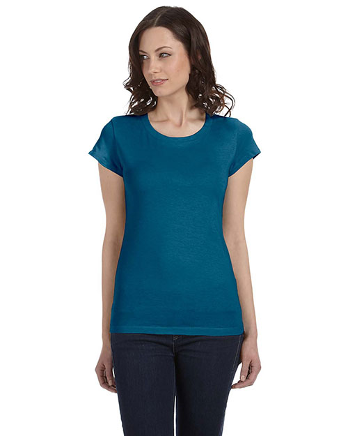 Bella B8101 Women Sheer Jersey Short-Sleeve T-Shirt Deep Teal at bigntallapparel