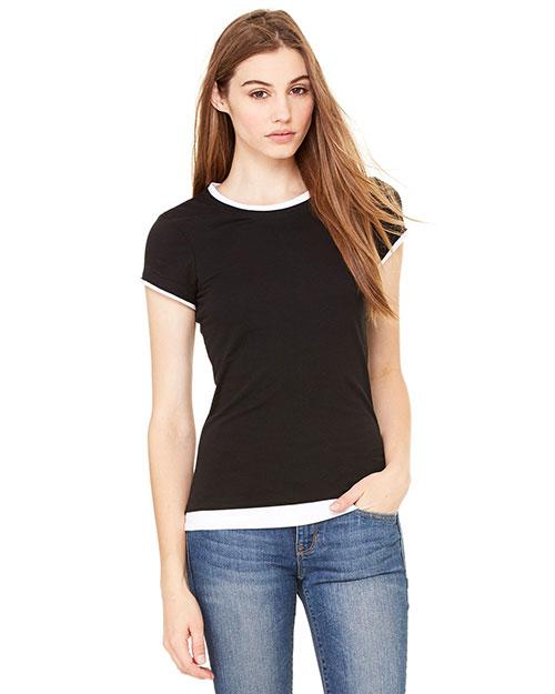 Bella B8102 Women Sheer Jersey Short-Sleeve 2-In-1 T-Shirt Black/White at bigntallapparel