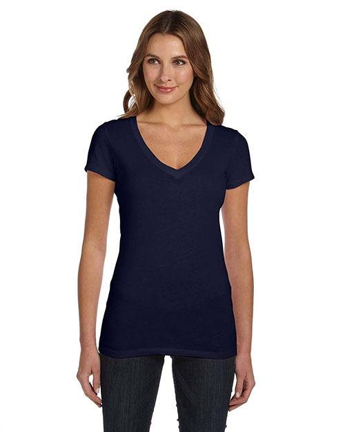Bella B8417 Women Tissue Jersey Short-Sleeve Deep V-Neck T-Shirt Midnight at bigntallapparel