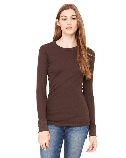 Bella B8500 Women Thermal Long-Sleeve T-Shirt Chocolate at bigntallapparel
