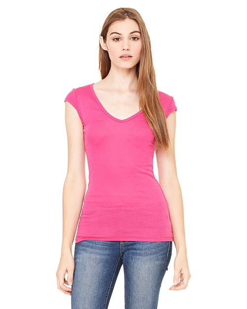 Bella B8705 Women Sheer Mini Rib Cap-Sleeve Deep V-Neck T-Shirt Berry at bigntallapparel