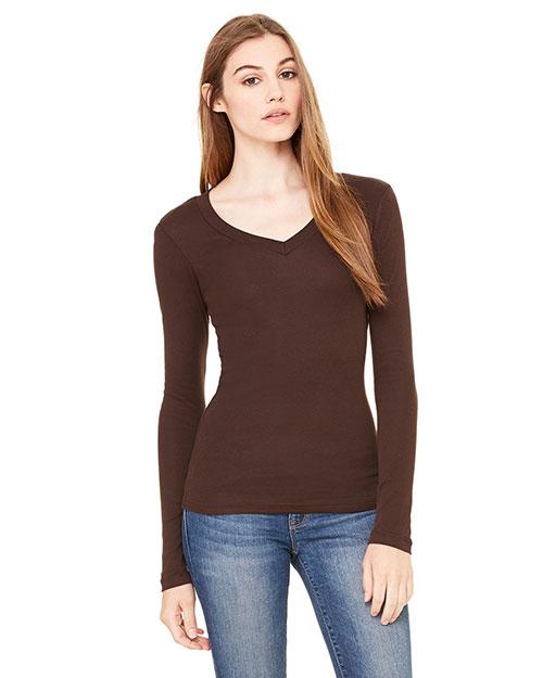 Bella B8750 Women Sheer Mini Rib Long-Sleeve V-Neck T-Shirt Chocolate at bigntallapparel