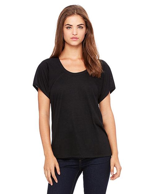 Bella B8801 Women Flowy Raglan T-Shirt Black at bigntallapparel