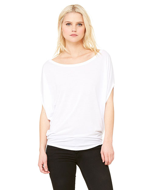 Bella B8806 Women Flowy Circle Top White at bigntallapparel