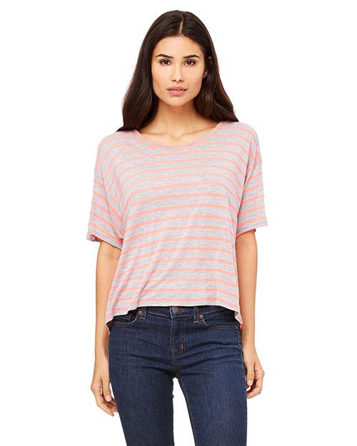 Bella B8881 Women Flowy Boxy T-Shirt Str Ath Htr/Neon Pk at bigntallapparel