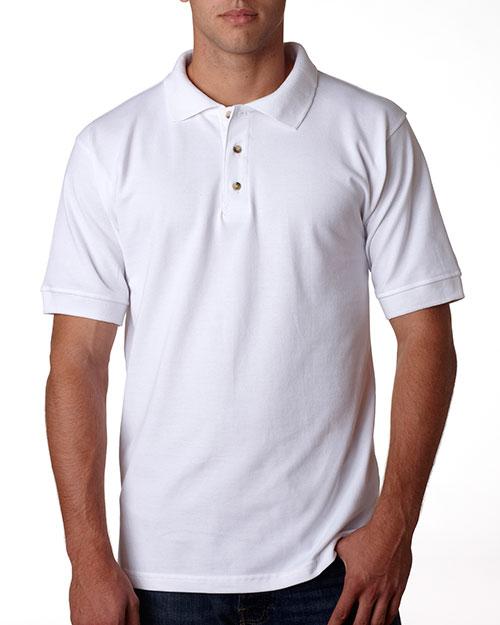 Bayside 1000 Men Polo Shirt White at bigntallapparel