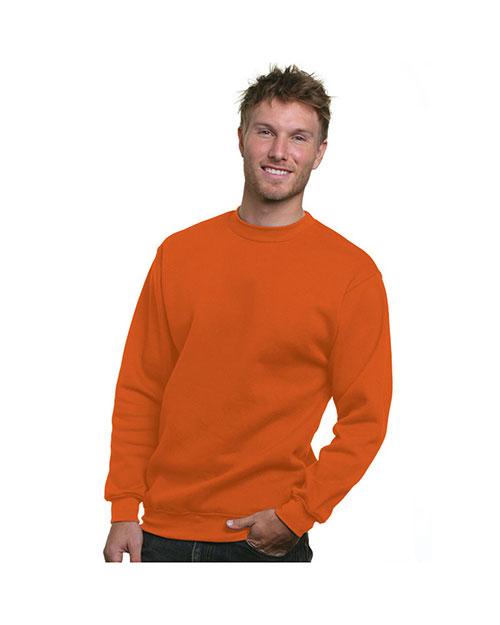 Bayside 1102 Men 80/20 Crew Sweatshirt Bright Orange at bigntallapparel