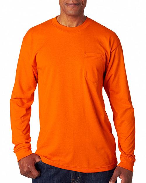 Bayside 1730 Men 50/50 Long Sleeve Pkt Tee Bright Orange at bigntallapparel