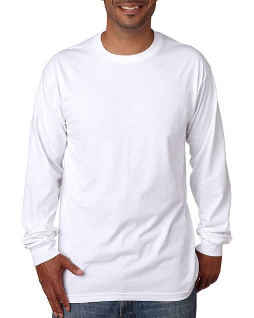 Bayside 5060 Men Longsleeve Cotton Tee White at bigntallapparel