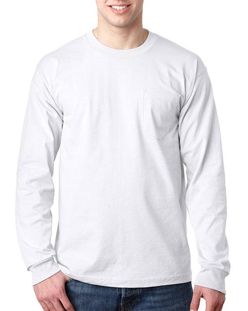 Bayside 8100 Men Usa Pocket Long Sleeve T White at bigntallapparel