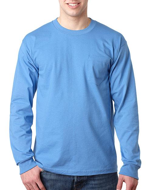 Bayside 8100 Men Usa Pocket Long Sleeve T Carolina Blue at bigntallapparel