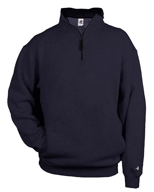 Badger 1286 Men 1/4 Zip Fleece Pullover Navy at bigntallapparel