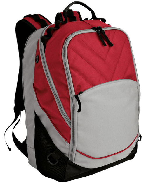 Port Authority BG100  Xcape Computer Backpack Red/Grey/Black at bigntallapparel