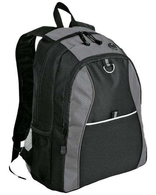 Port & Company BG1020  New   Contrast Honeycomb Backpack Grey/Black at bigntallapparel